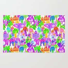 Indian Elephants in Tropical Watercolor Rug