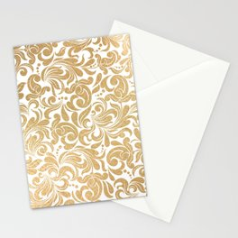 Gold foil swirls damask #13 Stationery Cards