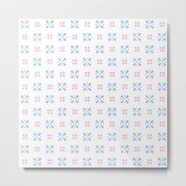 geometric flower 13 pink and blue Metal Print