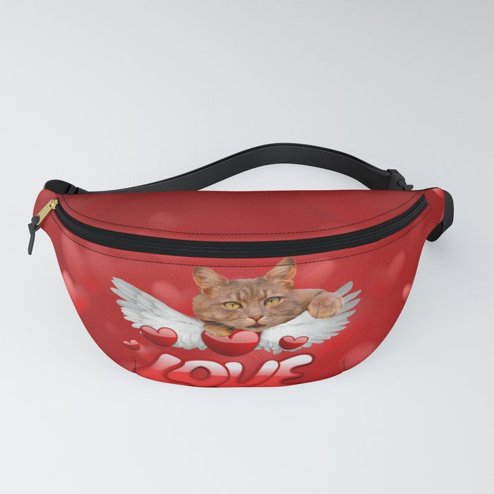 Cat and Hearts Fanny Pack
