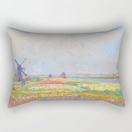 "Claude Monet ""Tulip Fields near The Hague"" Rectangular Pillow"