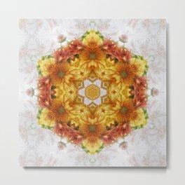 Gold Chrysanthemum Kaleidoscope Art 2 Metal Print