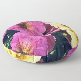 Pretty Pink And Yummy Yellow Petunia Flowers Floor Pillow