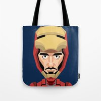 robert downey jr Tote Bags featuring Robert Downey Jr, vector caricature by Kaexi
