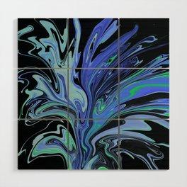 Blue Black Paint Spill Wood Wall Art