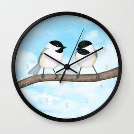 chickadee chitter chatter Wall Clock