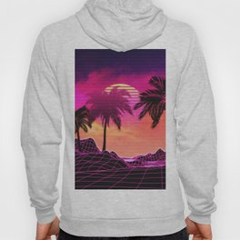Pink vaporwave landscape with rocks and palms Hoody