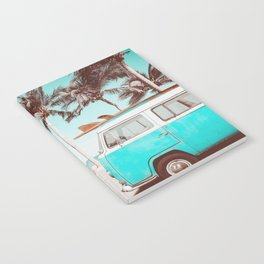 Retro Camper Van With Surf Board Notebook