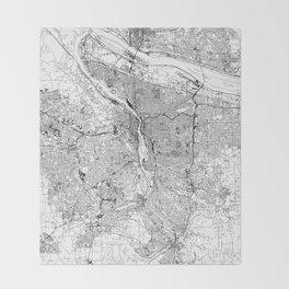 Portland White Map Throw Blanket
