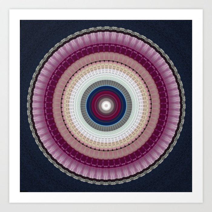 Decorative Wine Dark Blue Mandala Art Print