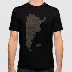 Lettering map of Argentina Mens Fitted Tee MEDIUM Black