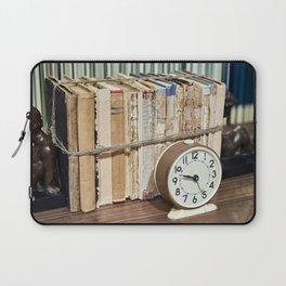 Old books on shelf and alarm clock Laptop Sleeve