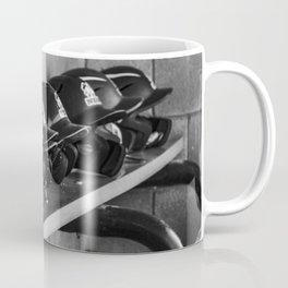 Helmets on a Bench Coffee Mug