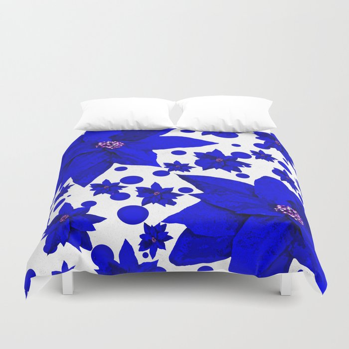 Poinsettia Blue Indigo Pattern Duvet Cover