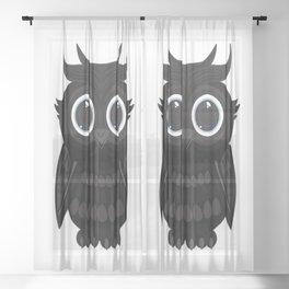 Black Owl Sheer Curtain