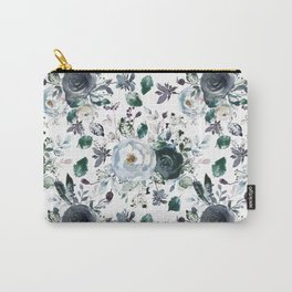 Botanical navy blue gray green watercolor peonies motif Carry-All Pouch