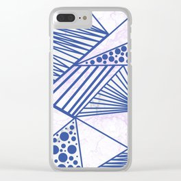 Geometrical navy blue lilac marble modern triangles shapes Clear iPhone Case