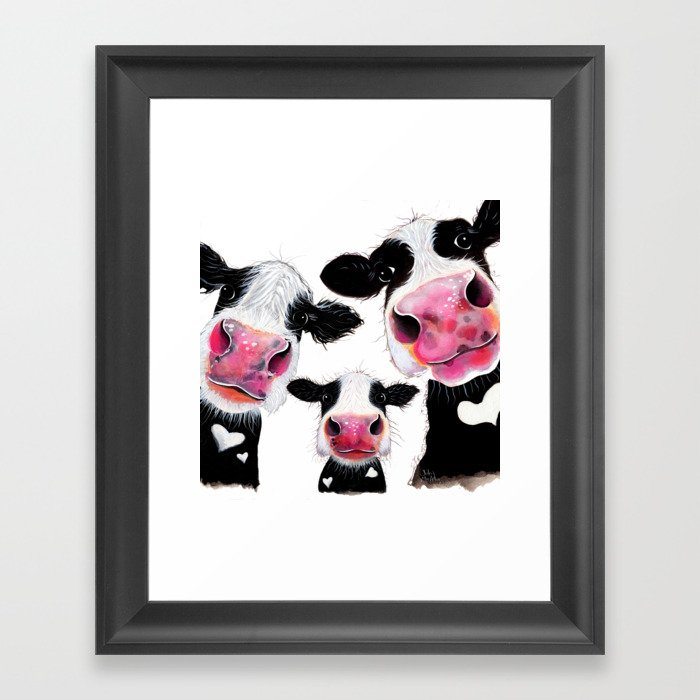 CoW PRiNT ANiMaL PRiNT ' THe NoSeY FaMiLY ' BY SHiRLeY MacARTHuR Gerahmter Kunstdruck