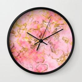 Raspberry Kiss - Pink Gold Marble Wall Clock