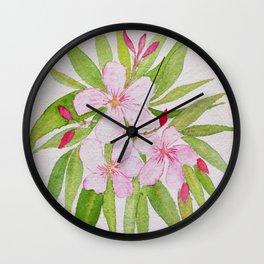 Watercolor Nerium Oleander Crown Wall Clock