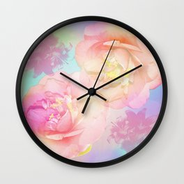 Romantic Camellia's and Lillies with a pastel background Wall Clock