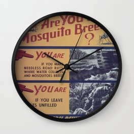 Vintage poster - Mosquito breeder Wall Clock