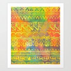AZTEC STRIPE - yellow Art Print