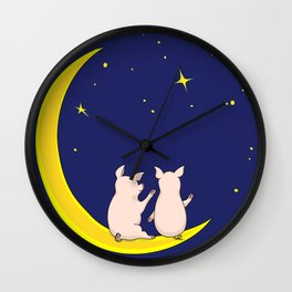 happy pair of pigs in love on the moon Wall Clock