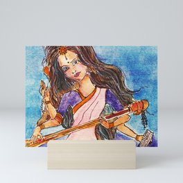 Saraswati is the Hindu goddess of knowledge, music, art, wisdom, and learning Mini Art Print