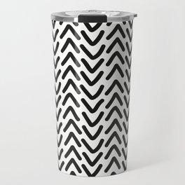 chevron black on white geometric pattern Travel Mug