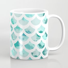 Blue Watercolour Mermaid Fish Scale Print Coffee Mug