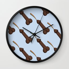 Rainbow Shooting Penis 2 Wall Clock