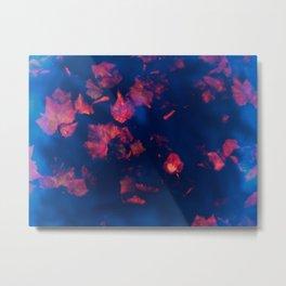 Rusty red falling leaves in dark blue water Metal Print