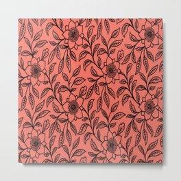 Vintage Lace Floral Peach Echo Metal Print
