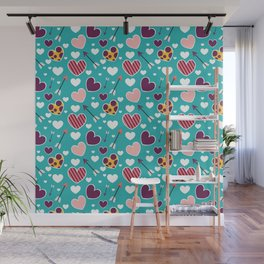 Love hearts pattern. Cute doodle heart. Romantic hand drawn background. Wall Mural