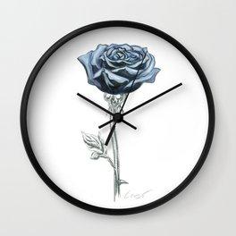 Rose 03 Botanical Flower * Blue Black Rose : Love, Honor, Faith, Beauty, Passion, Devotion & Wisdom Wall Clock