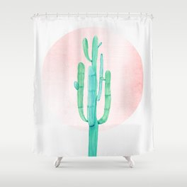 Desert Cactus Green With Rose Gold Sun Shower Curtain