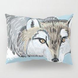 Totem Hokkaido grey wolf (Blue) Pillow Sham