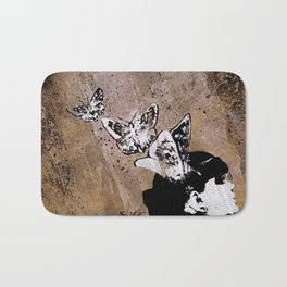 Long Gone Whisper II (street art graffiti painting, girl with butterflies) Bath Mat