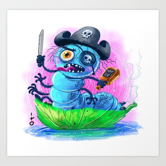 pirate worm Art Print