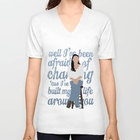 glee V-neck T-shirts featuring Brittana - Glee - Santana Lopez [Solo] Landslide typography minimalist design by Hrern1313