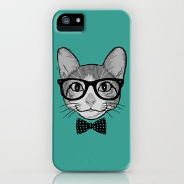 Cat Hipster with Polka Dots Bow Tie iPhone Case