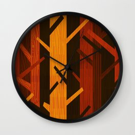 Retro Fall Woods by Friztin Wall Clock