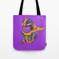 thanos Tote Bags featuring Thanos Whale by CoolBreezDesigns