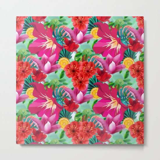 Tropical Summer Flower And Fruit Pattern Metal Print