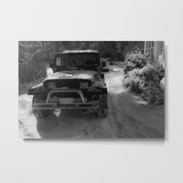 YJ Jeep in the snow (black and white) Metal Print