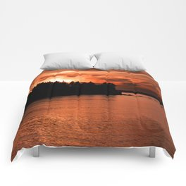 Red Sky At Night Photography Print Comforters