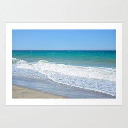 Sandy beach and Mediterranean sea Art Print