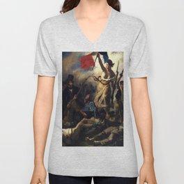 Delacroix – La liberté guidant le peuple-Liberty Leading the People-La Libertad guiando al pueblo Unisex V-Neck