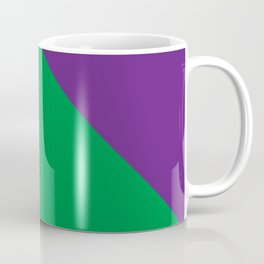 Important meeting of two halves of a nut; one is green, the other's purple. Coffee Mug